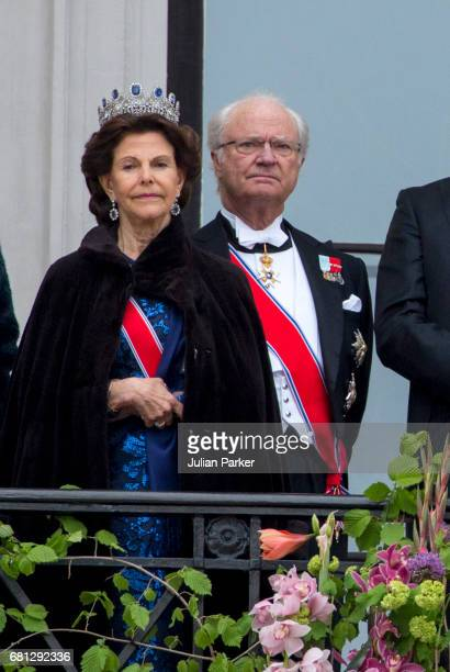 Queen Silvia and King Carl Gustaf of Sweden attend an official Gala dinner at the Royal Palace in Oslo as part of The Celebrations of the 80th...