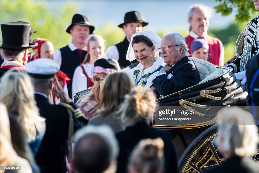 Queen Silvia and King Carl XVI Gustaf of Sweden during the national day celebrations at Skansen on June 6, 2017 in Stockholm, Sweden.