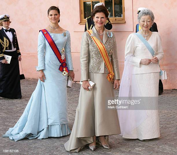 Queen Silvia Crown Princess Victoria Of Sweden With Her Imperial Majesty Empress Michiko Of Japan Attend The Tercentenary Birthday Celebrations For...