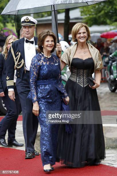 Queen Silvia of Sweden and Karin Seehofer attend the Bayreuth Festival 2017 Opening on July 25 2017 in Bayreuth Germany