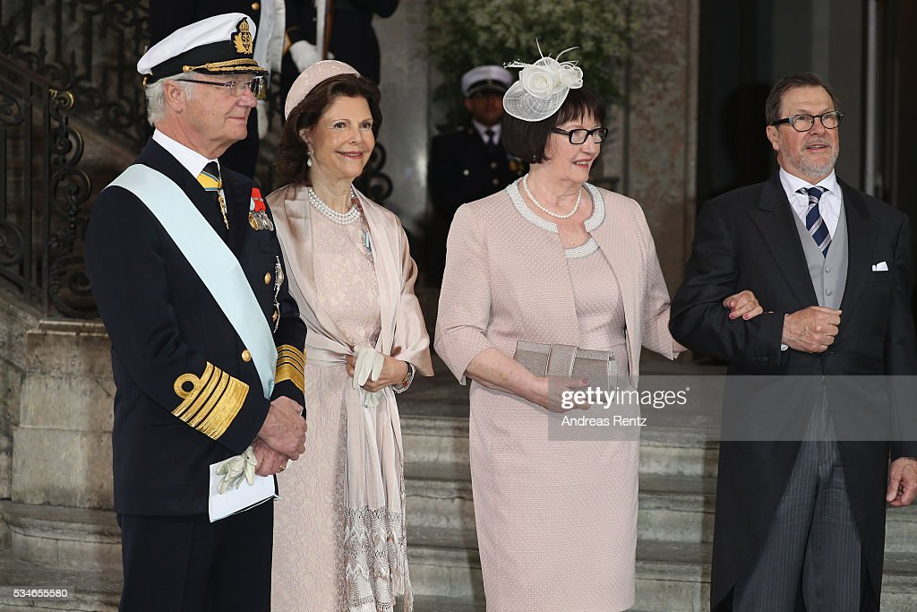 Queen Silvia of Sweden and King Carl Gustaf of Sweden and the parents of Prince Daniel are seen after the christening of Prince Oscar of Sweden at Royal Palace of Stockholm on May 27, 2016 in Stockholm, Sweden.