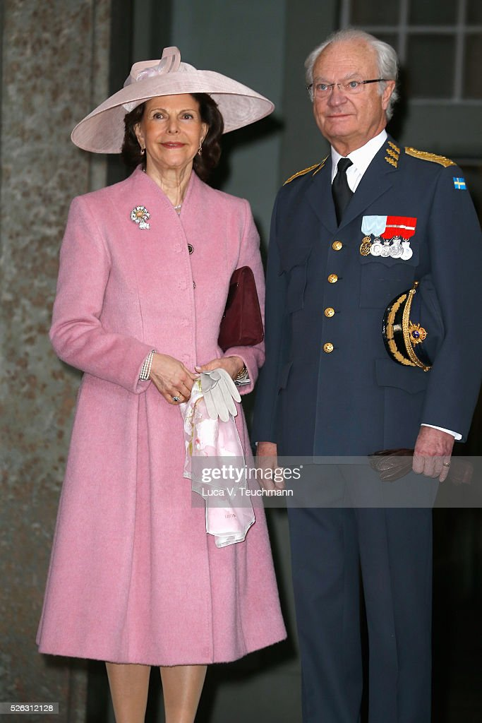 Queen Silvia of Sweden and King Carl Gustaf of Sweden arrive at the Royal Palace to attend Te Deum Thanksgiving Service to celebrate the 70th birthday of King Carl Gustaf of Sweden on April 30, 2016 in Stockholm, Sweden.