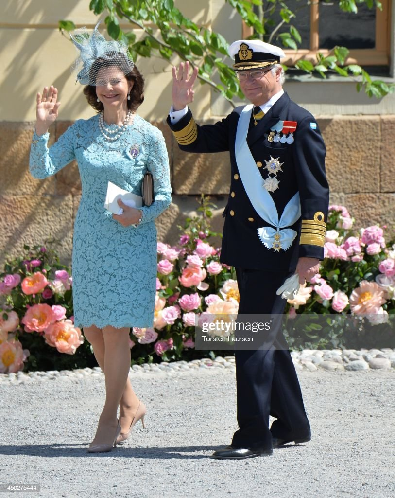 Queen Silvia of Sweden and King Carl Gustaf of Sweden arrive for Princess Leonore's Royal Christening at Drottningholm Palace Chapel on June 8, 2014 in Stockholm, Sweden.