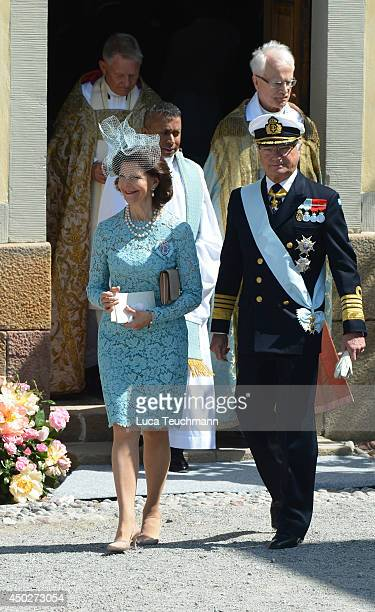 Queen Silvia of Sweden and King Carl Gustaf of Sweden arrives for Princess Leonore's Royal Christening at Drottningholm Palace Chapel on June 8 2014...