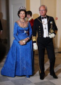 Queen Silvia of Sweden and King Carl gustaf of Sweden attend a Gala Dinner to celebrate Queen Margrethe II of Denmark's 40 years on the throne at...