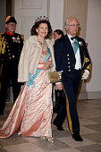 Queen Silvia of Sweden and King Carl Gustaf of Sweden attend a Gala Dinner at Christiansborg Palace on the eve of the 75th Birthday of Queen...