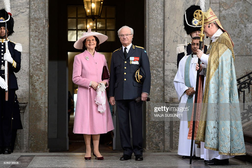 Queen Silvia of Sweden and King Carl XVI Gustaf arrive for the Te Deum thanksgiving service in the Royal Chapel during King Carl XVI Gustaf of Sweden's 70th birthday celebrations in Stockholm, Sweden, April 30, 2016. News Agency / Maja Suslin/TT / Sweden OUT