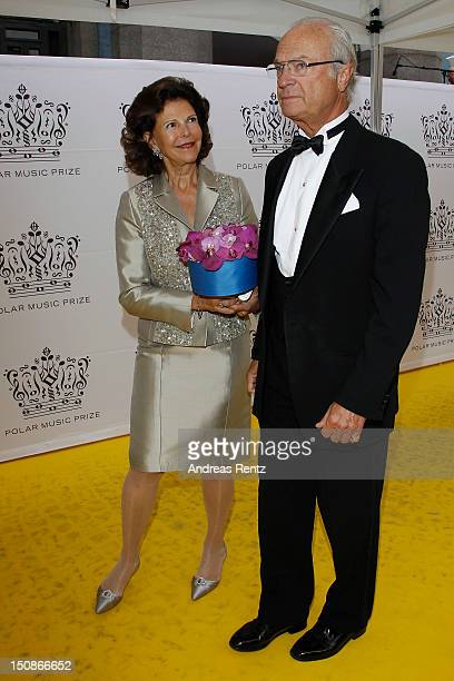 Queen Silvia of Sweden and King Carl XVI Gustaf of Sweden arrive for the Polar Music Prize at Konserthuset on August 28 2012 in Stockholm Sweden