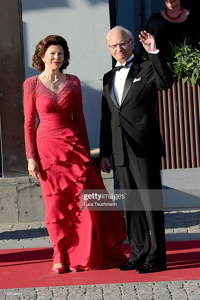 Queen Silvia of Sweden and King Carl XVI Gustaf of Sweden attend a private dinner on the eve of the wedding of Princess Madeleine and Christopher O'Neill hosted by King Carl Gustaf and Queen Silvia at The Grand Hotel on June 7, 2013 in Stockholm, Sweden.
