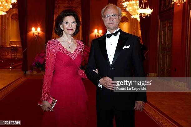 Queen Silvia of Sweden and King Carl XVI Gustaf of Sweden attend a private dinner on the eve of the wedding of Princess Madeleine and Christopher...