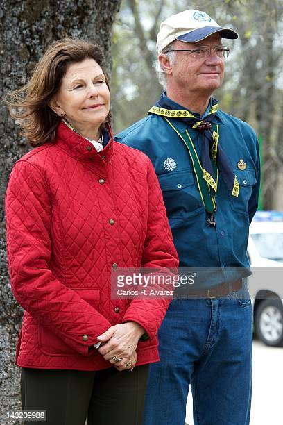 Queen Silvia of Sweden and King Carl XVI Gustaf of Sweden attend the 63th World Scout Foundation meeting on April 21 2012 in El Escorial near of...