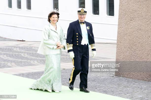 Queen Silvia of Sweden and King Carl XVI Gustaf of Sweden depart for the banquet after the wedding ceremony of Princess Madeleine of Sweden and...