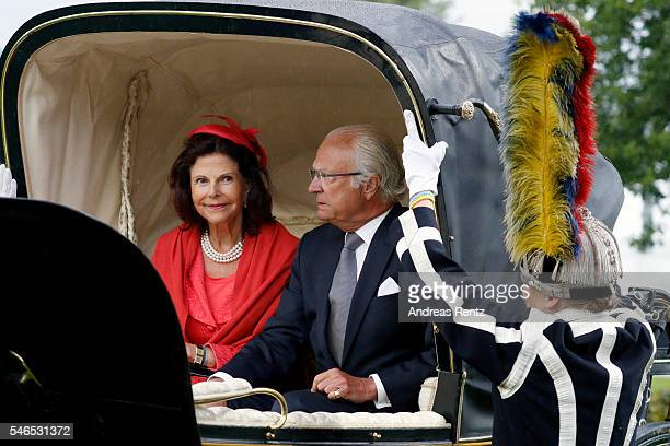 Queen Silvia of Sweden and King Carl XVI Gustaf of Sweden ride a horse carriage during the opening ceremony of the CHIO 2016 on July 12 2016 in...