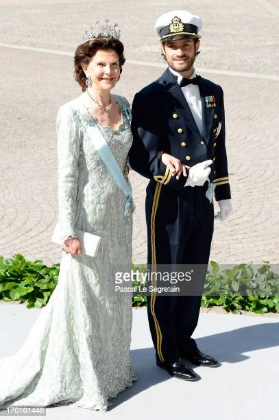 Queen Silvia of Sweden and Prince Carl Philip of Sweden attend the wedding of Princess Madeleine of Sweden and Christopher O'Neill hosted by King...
