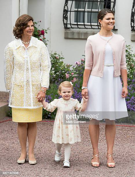 Queen Silvia of Sweden and Princess Estelle of Sweden with Crown Princess Victoria of Sweden celebrating her 37th birthday at Solliden on July 14...