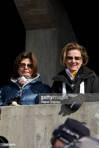 Queen Silvia of Sweden and Queen Sonja of Norway attend the Men's 50km Free Mass Start in the FIS Nordic World Ski Championships 2011 at Holmenkollen...