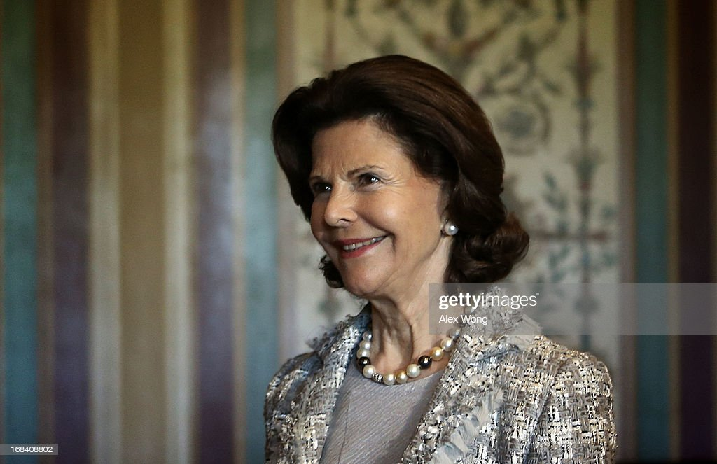 Queen Silvia of Sweden arrives at a lunch meeting on Capitol Hill May 9, 2013 in Washington, DC. King Carl XVI Gustaf and Queen Silvia met with members of the Swedish Congressional Caucus during the meeting.