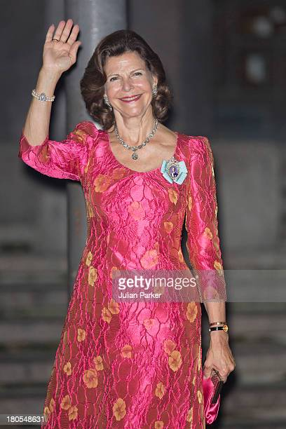 Queen Silvia of Sweden arrives at the Swedish Riksdag's concert to celebrate King Carl Gustaf of Swedens 40th Jubilee at Stockholm Concert Hall on...
