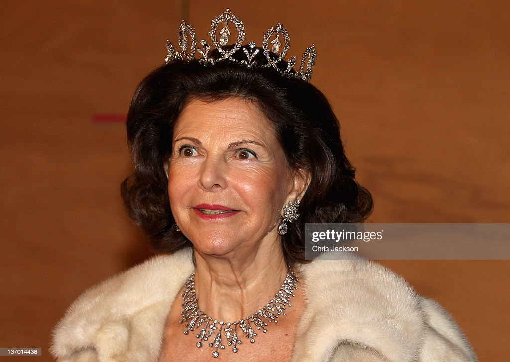 Queen Silvia of Sweden arrives for a Gala Performance at the DR Concert Hall to celebrate 40 years on the throne at City Hall on January 14, 2012 in Copenhagen, Denmark.