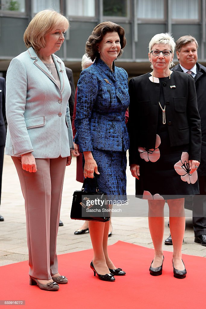 Queen Silvia Of Sweden (C) arrives for her visit at North Rhine-Westphalia Landtag on May 24, 2016 in Duesseldorf, Germany.