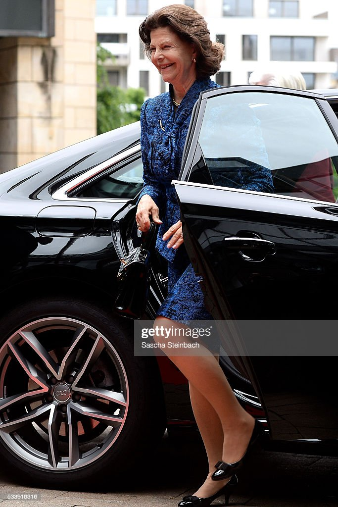 Queen Silvia Of Sweden arrives for her visit at North Rhine-Westphalia Landtag on May 24, 2016 in Duesseldorf, Germany.