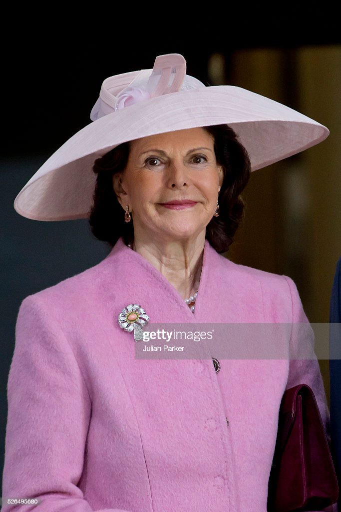Queen Silvia of Sweden arrives for the Te Deum Thanksgiving Service, at The Royal Palace, Stockholm, on the occasion of King Carl Gustaf of Sweden's 70th Birthday,on April 30, 2016, in Stockholm, Sweden.