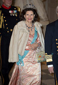 Queen Silvia of Sweden attends a gala dinner at Christiansborg Palace on the eve of the 75th Birthday of Queen Margrethe II of Denmark on April 15...