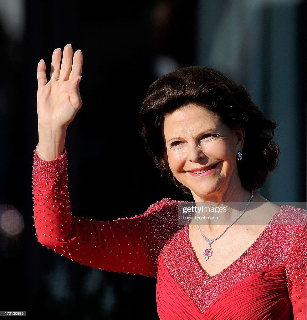 Queen Silvia of Sweden attends a private dinner on the eve of the wedding of Princess Madeleine and Christopher O'Neill hosted by King Carl XVI Gustaf and Queen Silvia at The Grand Hotel on June 7, 2013 in Stockholm, Sweden.
