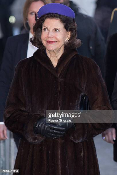 Queen Silvia of Sweden attends the 25th anniversary of King Harald V and Queen Sonja of Norway as monarchs on January 17 2016 in Oslo Norway