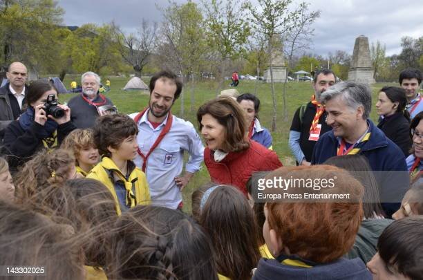 Queen Silvia of Sweden attends the 63th World Scout Foundation meeting on April 21 2012 in El Escorial near of Madrid Spain