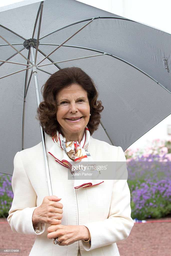 Queen Silvia of Sweden attends the Celebration for Crown Princess Victoria of Sweden's 38th Birthday at Solliden Palace, on July 14th, 2015 in Borgholm, Sweden.