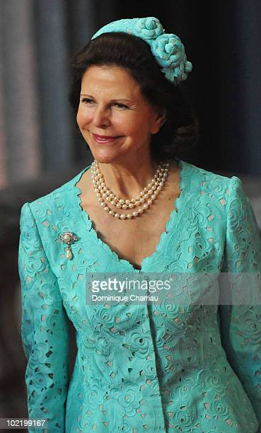 Queen Silvia of Sweden attends the Government PreWedding Reception for Crown Princess Victoria cand Daniel Westling at Stockholm City Hall on June 18...