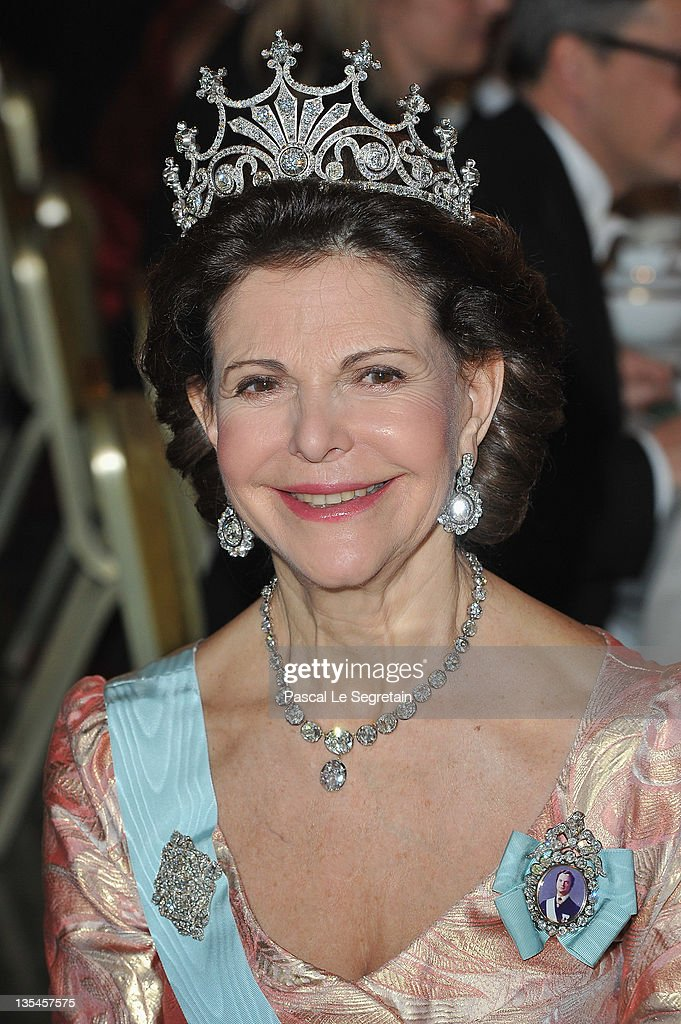 Queen Silvia of Sweden attends the Nobel Banquet at the City Hall on December 10 2011 in Stockholm Sweden