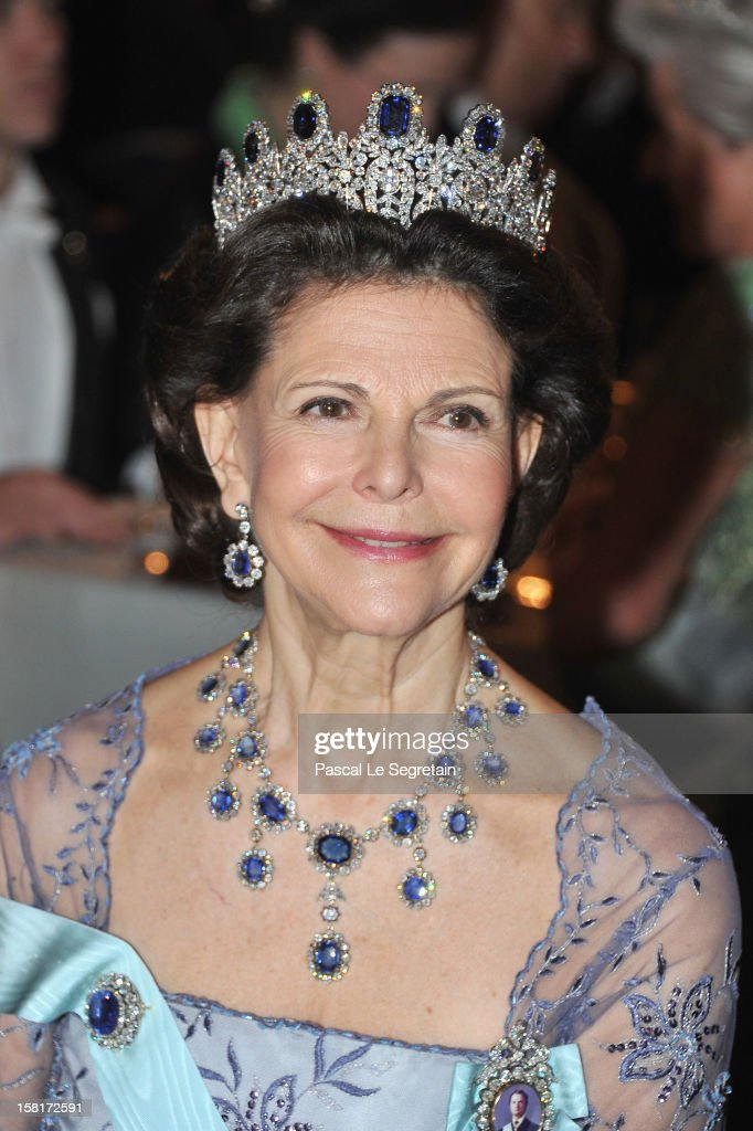 Queen Silvia of Sweden attends the Nobel Banquet at Town Hall on December 10, 2012 in Stockholm, Sweden.