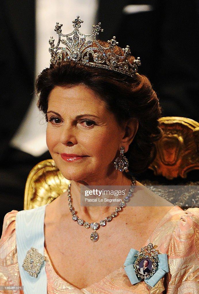 Queen Silvia of Sweden attends the Nobel Prize Award Ceremony 2011 at Stockholm Concert Hall on December 10, 2011 in Stockholm, Sweden.
