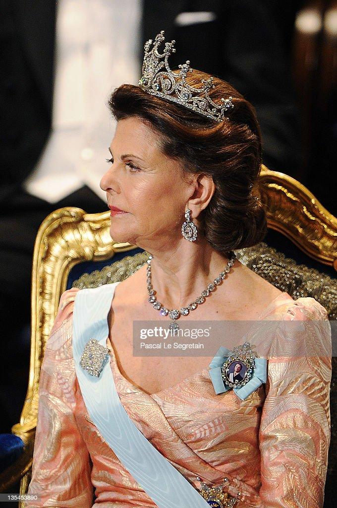 Queen Silvia of Sweden attends the Nobel Prize Award Ceremony at Stockholm Concert Hall on December 10, 2011 in Stockholm, Sweden.