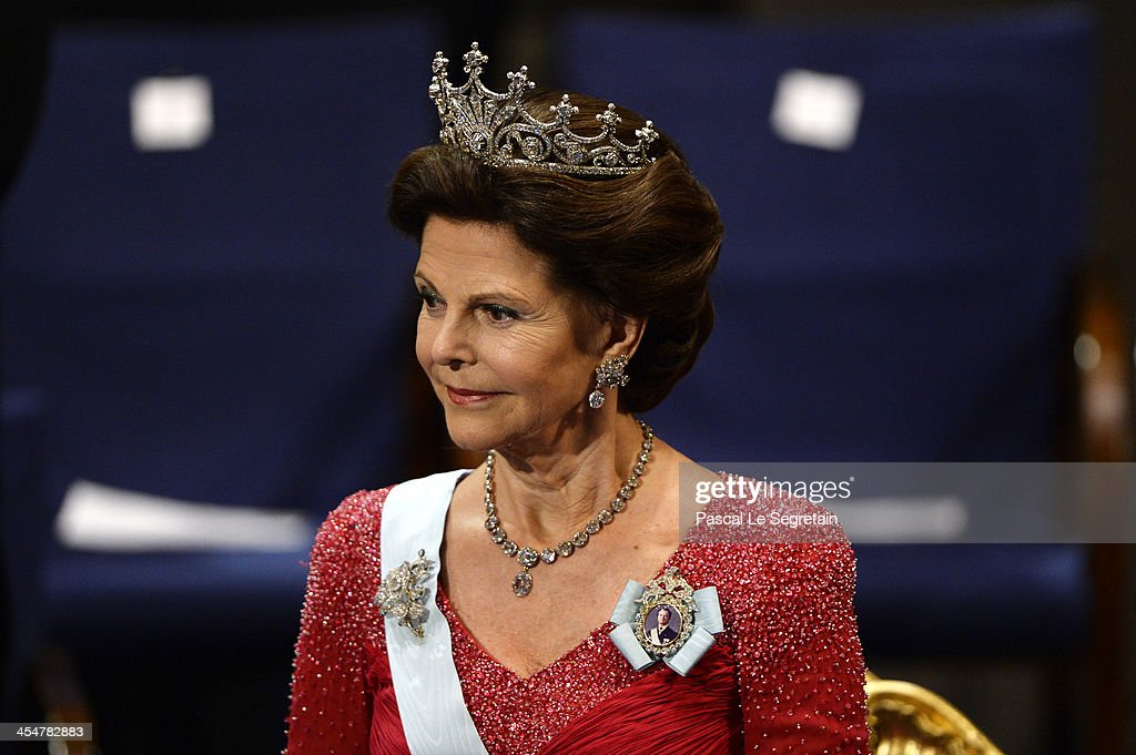 <a gi-track='captionPersonalityLinkClicked' href=/galleries/search?phrase=Queen+Silvia+of+Sweden&family=editorial&specificpeople=160332 ng-click='$event.stopPropagation()'>Queen Silvia of Sweden</a> attends the Nobel Prize Awards Ceremony at Concert Hall on December 10, 2013 in Stockholm, Sweden.