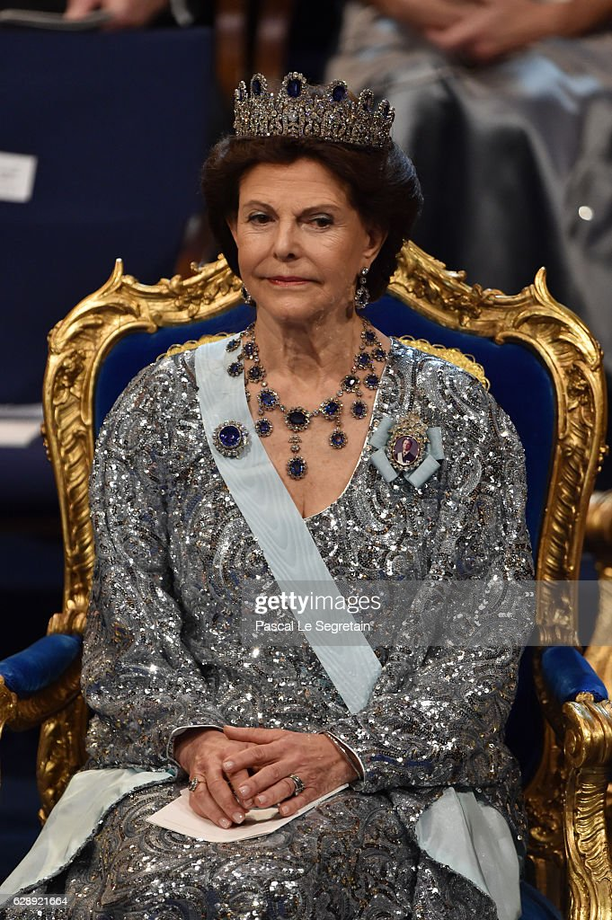 Queen Silvia of Sweden attends the Nobel Prize Awards Ceremony at Concert Hall on December 10, 2016 in Stockholm, Sweden.