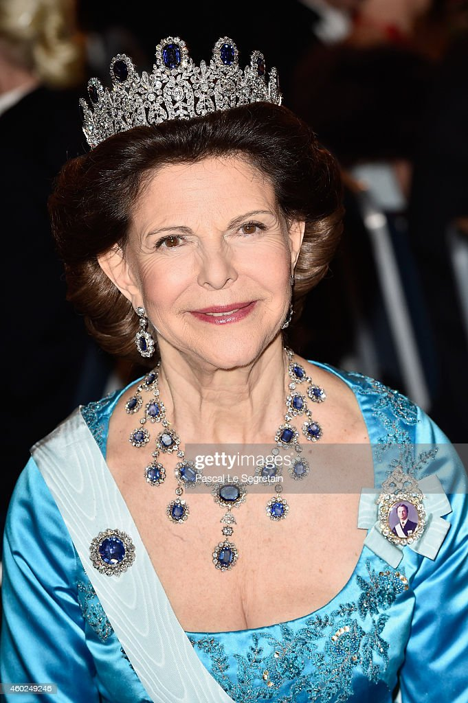 <a gi-track='captionPersonalityLinkClicked' href=/galleries/search?phrase=Queen+Silvia+of+Sweden&family=editorial&specificpeople=160332 ng-click='$event.stopPropagation()'>Queen Silvia of Sweden</a> attends the Nobel Prize Banquet 2014 at City Hall on December 10, 2014 in Stockholm, Sweden.