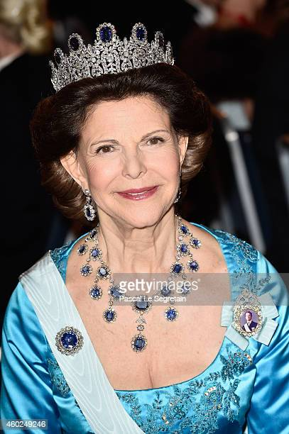 Queen Silvia of Sweden attends the Nobel Prize Banquet 2014 at City Hall on December 10 2014 in Stockholm Sweden