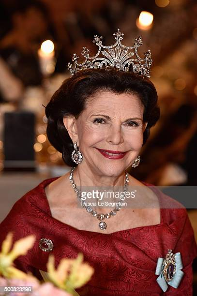 Queen Silvia of Sweden attends the Nobel Prize Banquet 2015 at City Hall on December 10 2015 in Stockholm Sweden