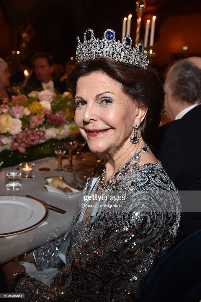 Queen Silvia of Sweden attends the Nobel Prize Banquet 2015 at City Hall on December 10, 2016 in Stockholm, Sweden.