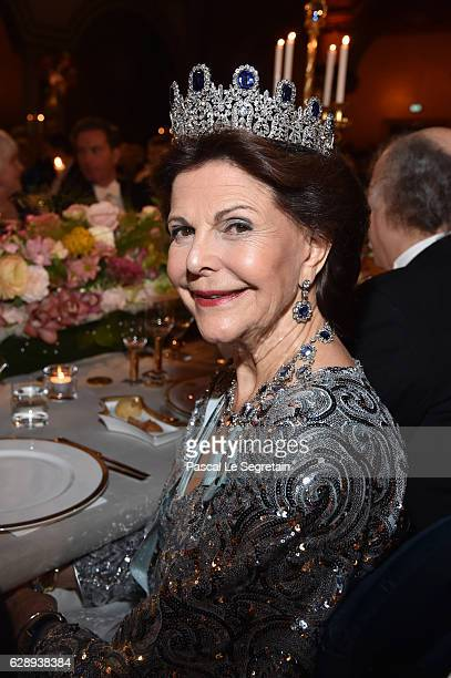 Queen Silvia of Sweden attends the Nobel Prize Banquet 2015 at City Hall on December 10 2016 in Stockholm Sweden
