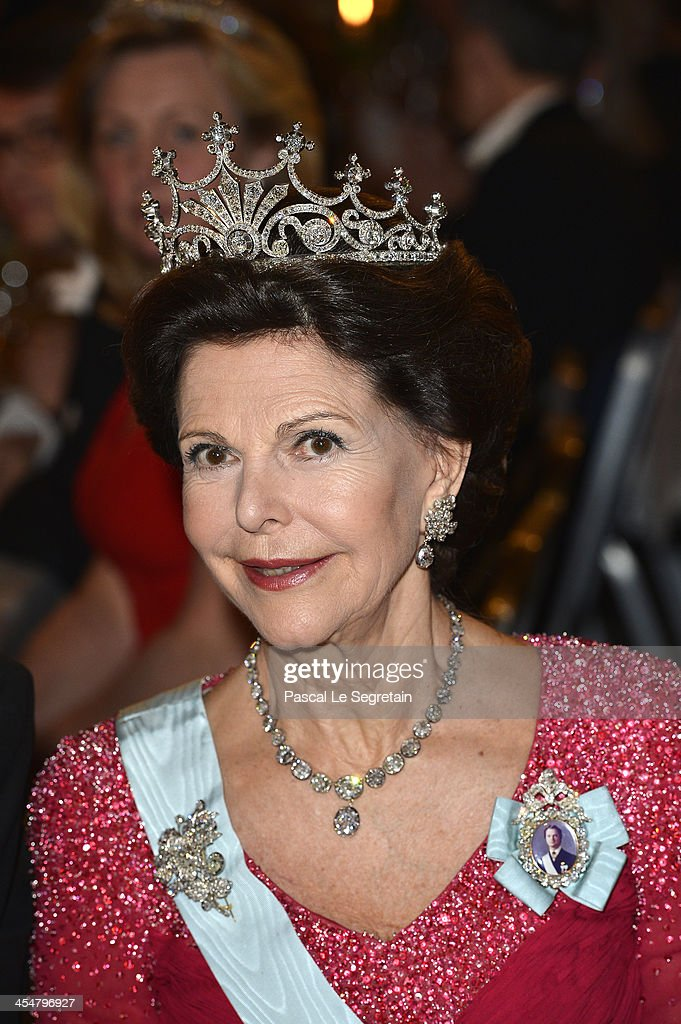 <a gi-track='captionPersonalityLinkClicked' href=/galleries/search?phrase=Queen+Silvia+of+Sweden&family=editorial&specificpeople=160332 ng-click='$event.stopPropagation()'>Queen Silvia of Sweden</a> attends the Nobel Prize Banquet after the 2013 Nobel Prize Awards Ceremony at City Hall on December 10, 2013 in Stockholm, Sweden.