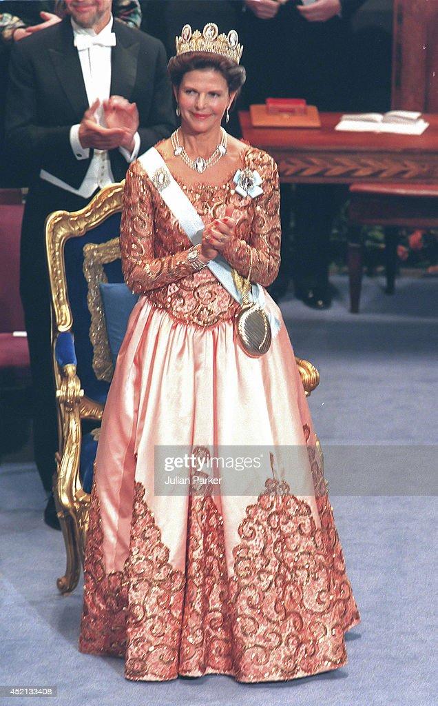 STOCKHOLM, SWEDEN - DECEMBER 10; Queen Silvia of Sweden attends the Nobel Prize Ceremony at Stockholm Concert Hall, during the 1998 Nobel Festivities, on December 10 1998 in, Stockholm, Sweden.