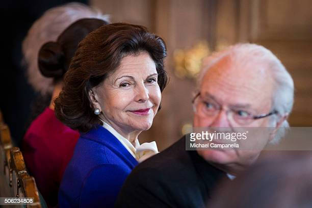Queen Silvia of Sweden attends the opening of the exhibition 'In Course of Time 400 Years Of Royal Clocks' at the Royal Palace on January 22 2016 in...