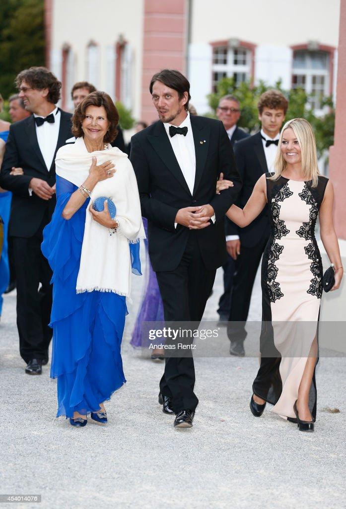 Queen Silvia of Sweden, Count Bjorn Bernadotte and Countess Sandra Bernadotte attend the 5th Lindau meeting on Economic Scienes an event in connection with the 15th anniversary of World Childhood Foundation at Island Mainau on August 23, 2014 in Konstanz, Germany.
