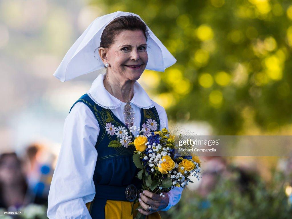 Queen Silvia of Sweden during the national day celebrations at Skansen on June 6, 2017 in Stockholm, Sweden.