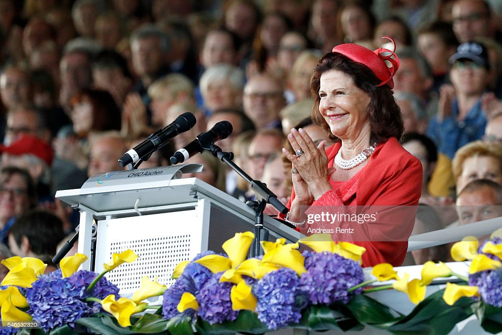 Queen Silvia of Sweden gives a speech during the opening ceremony of the CHIO 2016 on July 12, 2016 in Aachen, Germany.