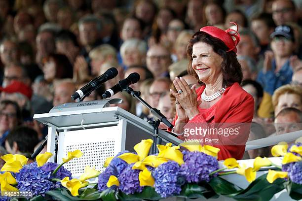 Queen Silvia of Sweden gives a speech during the opening ceremony of the CHIO 2016 on July 12 2016 in Aachen Germany
